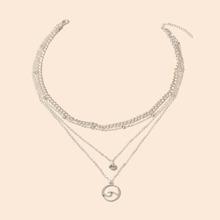 Halskette mit Welle Dekor und Strass