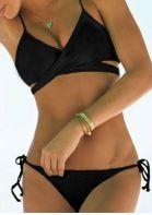 Solid Lace Up Cross Tie Bikini Set