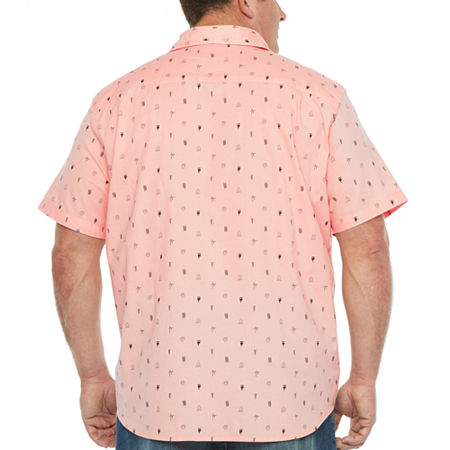 The Foundry Big & Tall Supply Co. Big and Tall Mens Short Sleeve Button-Down Shirt, X-large Tall , Pink