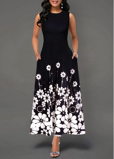 Women'S Black Floral Print Sleeveless Maxi Spring Dress Round Neck Elegant Casual Dress By Rosewe - M