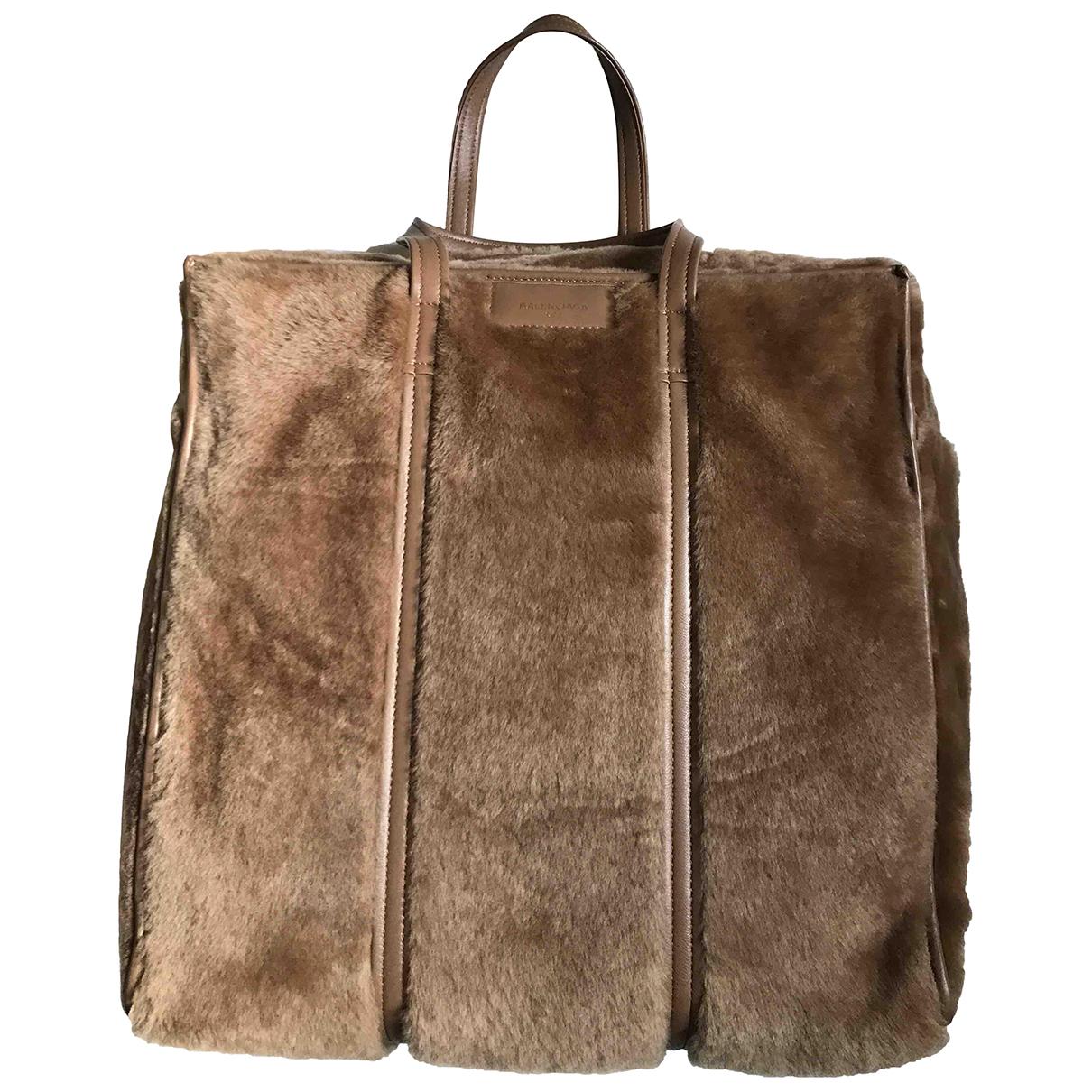 Balenciaga Bazar Bag Camel Shearling handbag for Women N