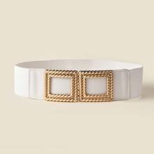 Cinturon ancho con hebilla geometrica
