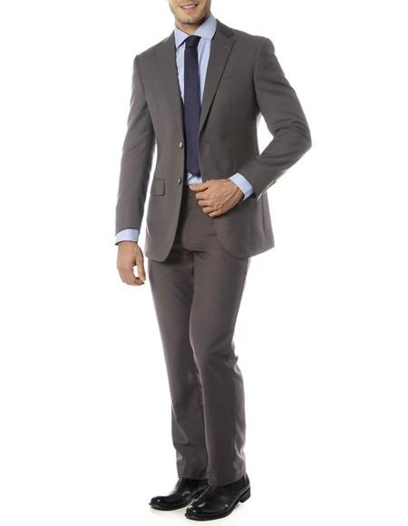 Mens Single Breasted Notch Label Slim Fit Suit Charcoal