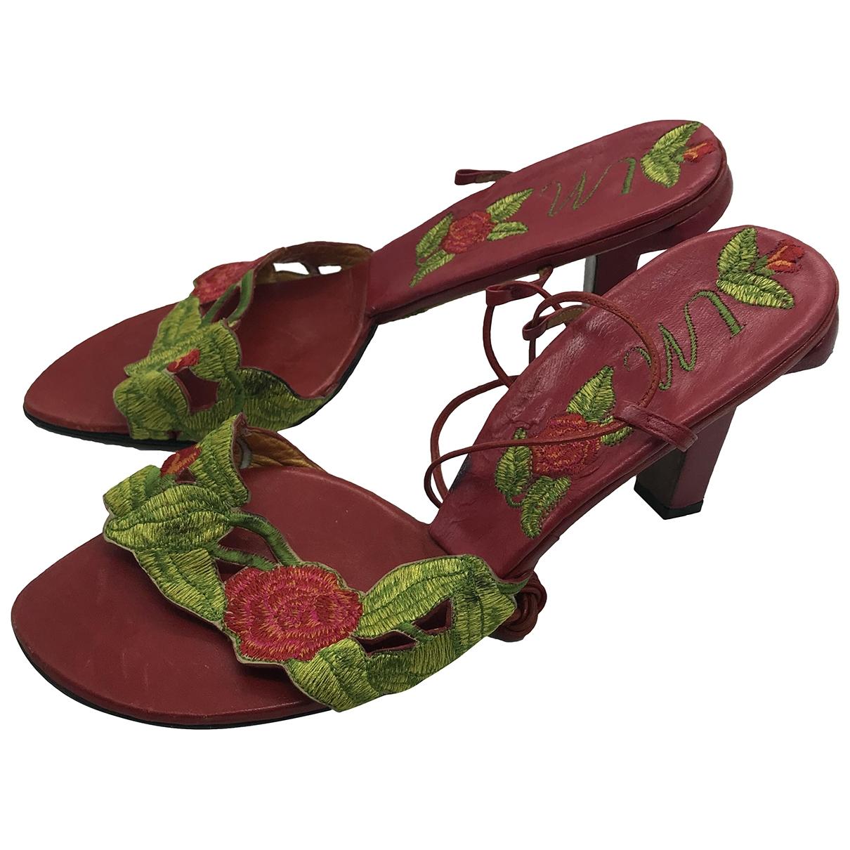 - Sandales   pour femme en cuir - multicolore