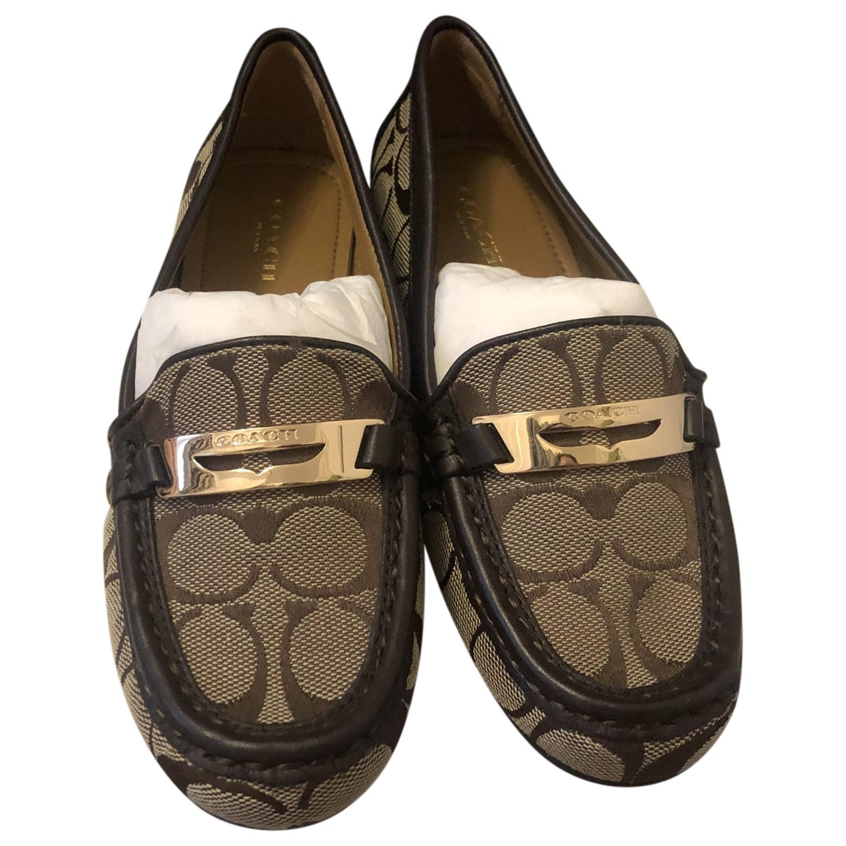 Coach \N Beige Cloth Flats for Women 35.5 EU