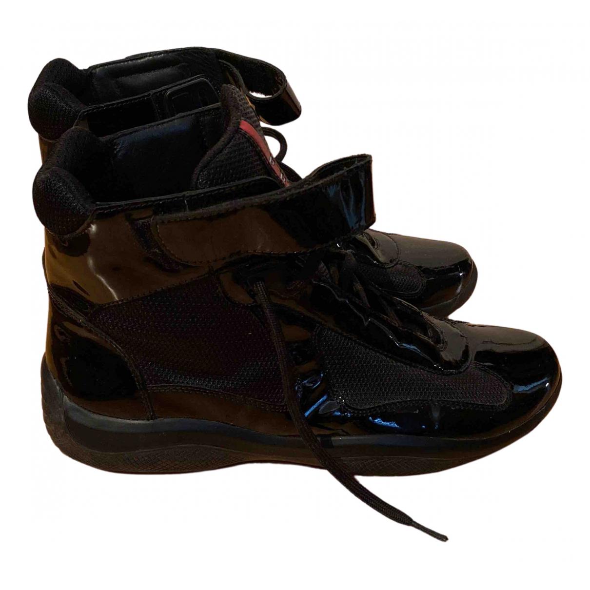 Prada \N Black Patent leather Trainers for Men 43 EU