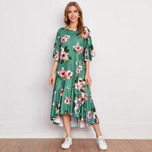 Floral Print Ruffle Trim High Low Dress