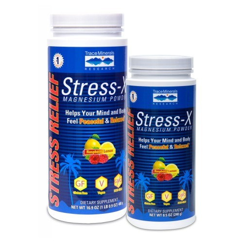 Stress-X Magnesium Powder Raspberry Lemon 8.5 Oz by Trace Minerals