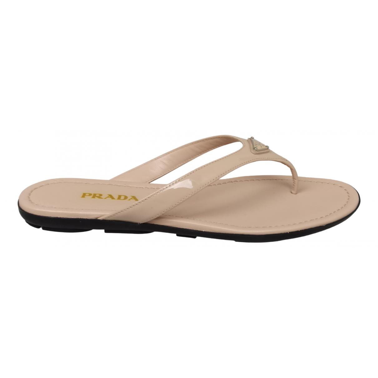 Prada N Pink Patent leather Sandals for Women 40 EU