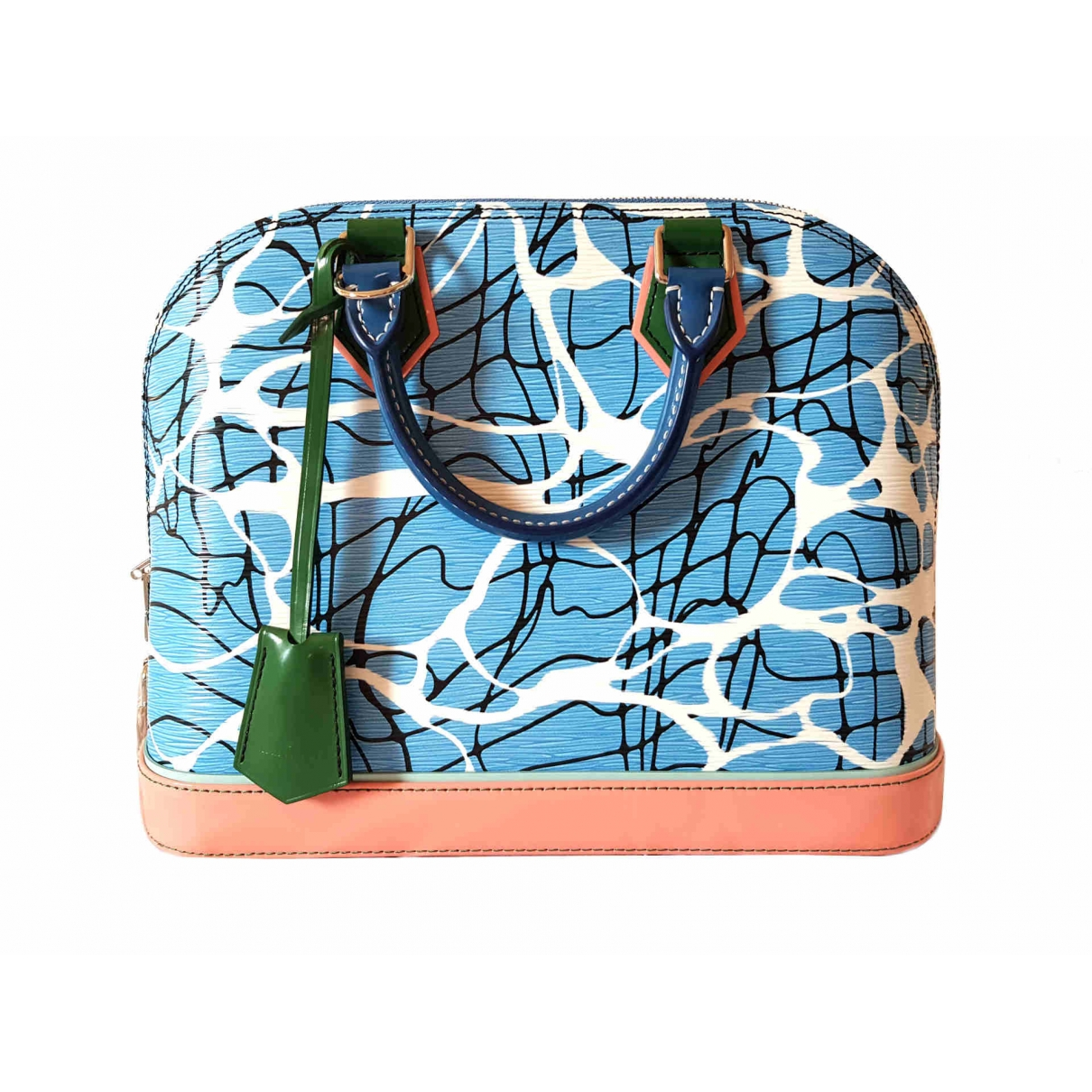 Louis Vuitton - Sac a main Alma pour femme en cuir verni - turquoise