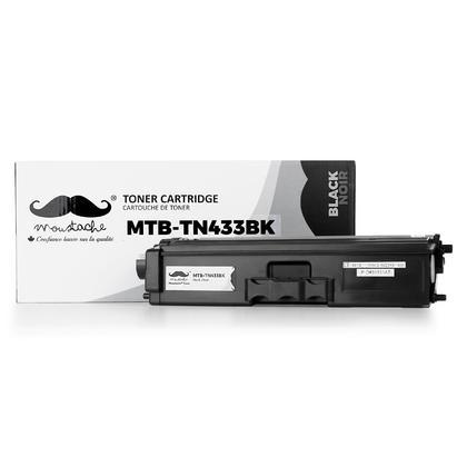 Brother TN433BK cartouche de toner compatible noire haute capacité 4500 pages - Moustache®