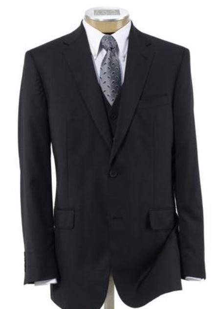 2 Button Black Wool Vested Suit with Pleated Trousers Mens