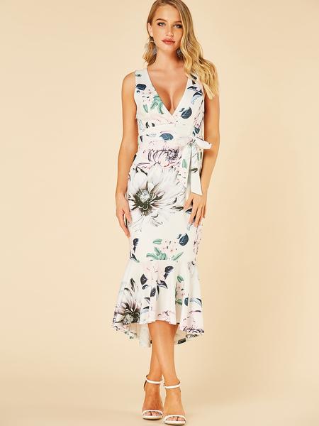 Yoins White Stitching hem Floral Print Deep V Neck Dress