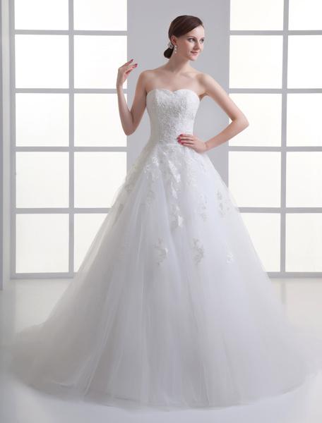 Milanoo Vestido de novia de red de marfil con cuentas de cola larga