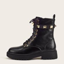 Studded Decor Combat Boots