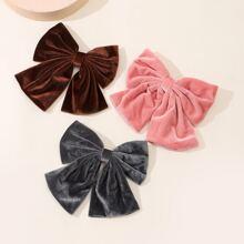 3pcs Velvet Bow Knot Decor Hair Clip