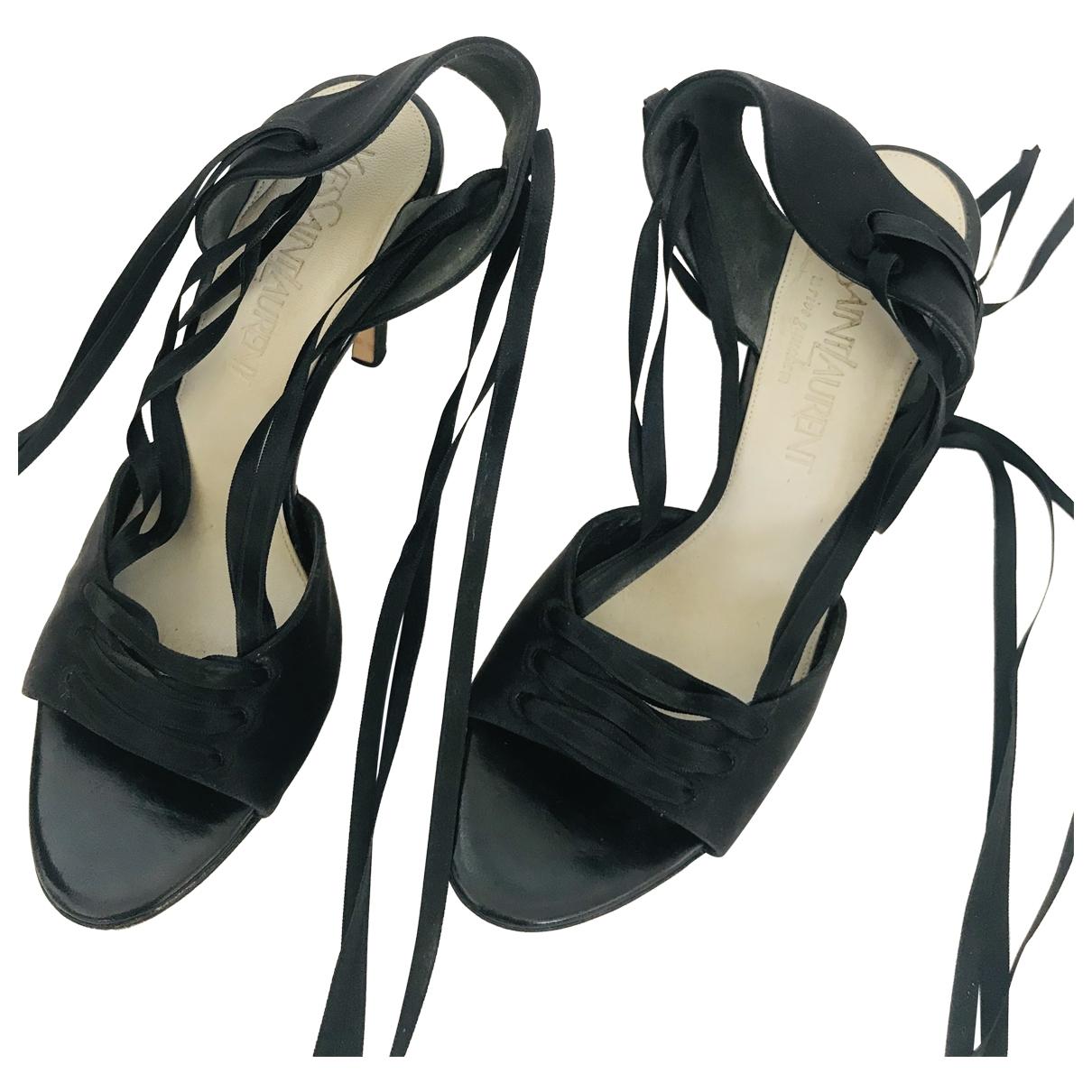 Yves Saint Laurent - Sandales   pour femme en cuir - noir