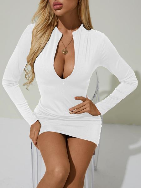 YOINS White Zip Front Deep V-neck Long Sleeves Mini Dress