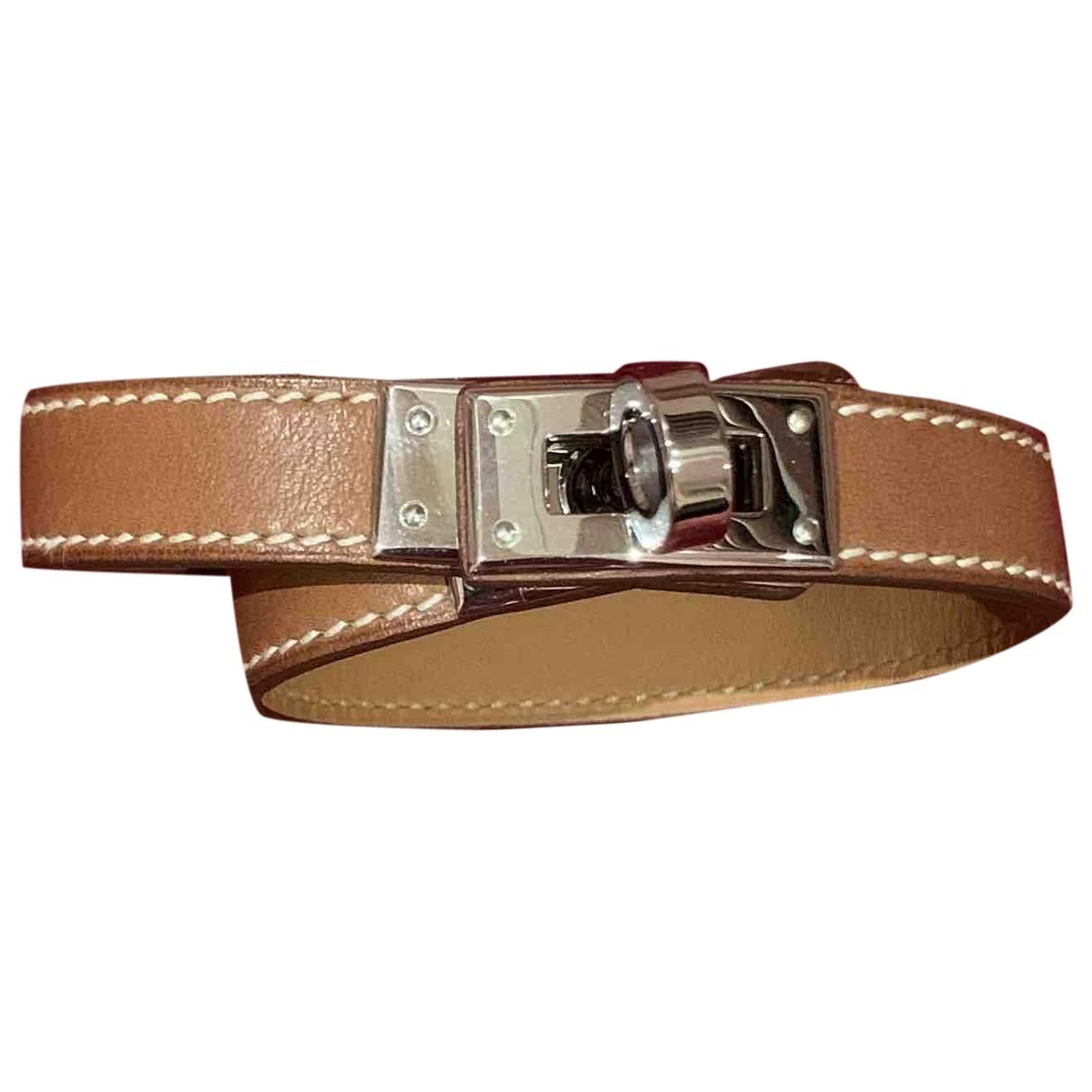 Hermes - Bracelet Kelly Double Tour pour femme en cuir - marron