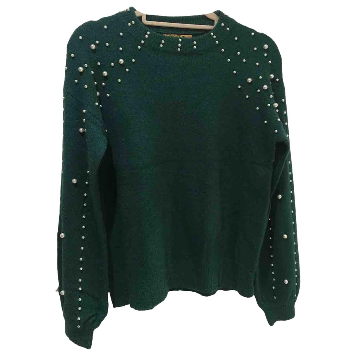 Non Signé / Unsigned Manche ballon Green Knitwear for Women One Size International