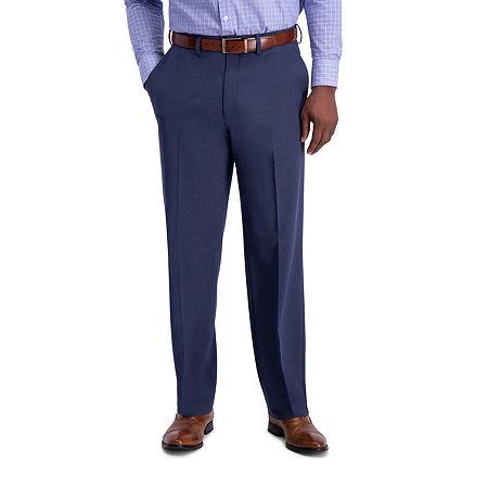 J.M Haggar Sharkskin Classic Fit Flat Front Dress Pant, 32 32, Blue