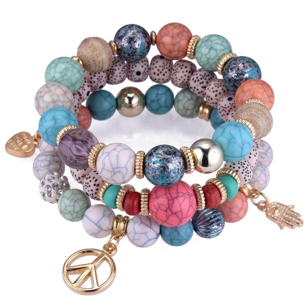 Ethnic Multi-Layer Beaded Bracelet Colorful Natural Stone Alloy Pendant Bracelet For Women