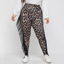Plus Leopard Print Fringe Trim Leggings