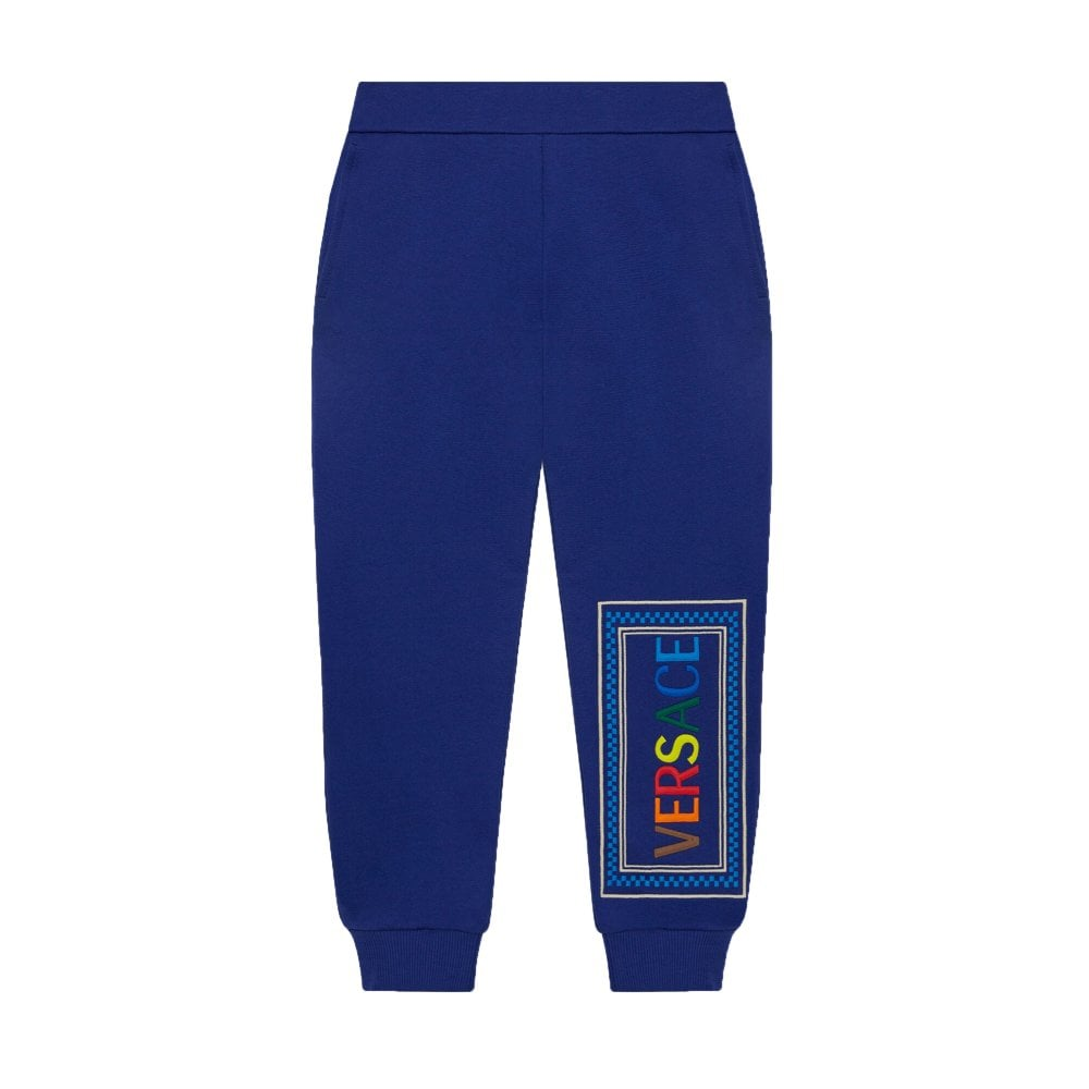 Versace Boys Cotton Logo Joggers Colour: BLUE, Size: 10 YEARS