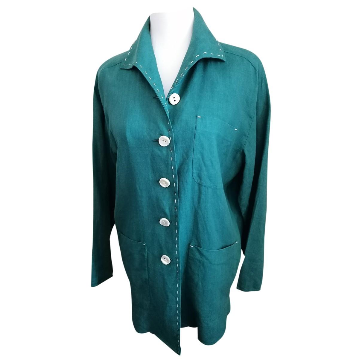 Trussardi - Veste   pour femme en lin - vert