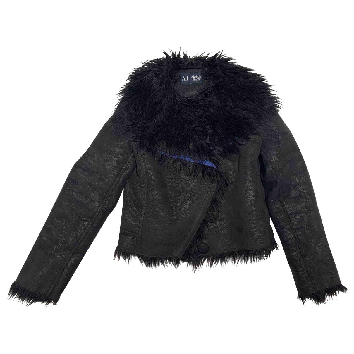 Armani Jean - Manteau   pour femme en fourrure synthetique - noir