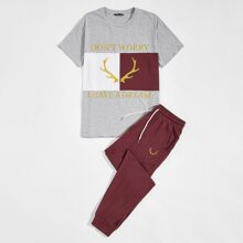 Men Slogan and Graphic Embroidered Top & Pants Set