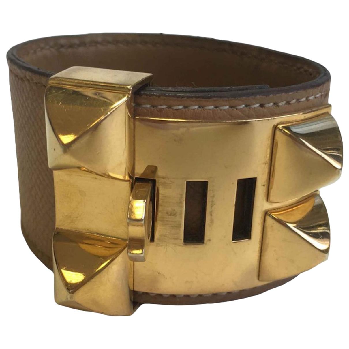 Hermes Collier de chien  Armband in  Beige Leder