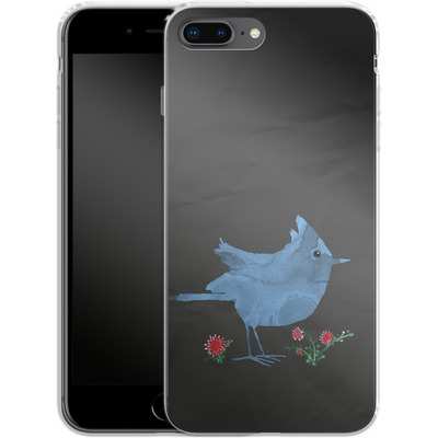 Apple iPhone 8 Plus Silikon Handyhuelle - Watercolour Bird Black von caseable Designs