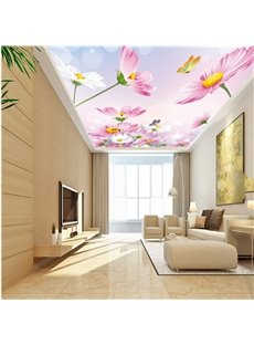 3D Pink Flowers Printed PVC Waterproof Sturdy Eco-friendly Self-Adhesive Ceiling Murals
