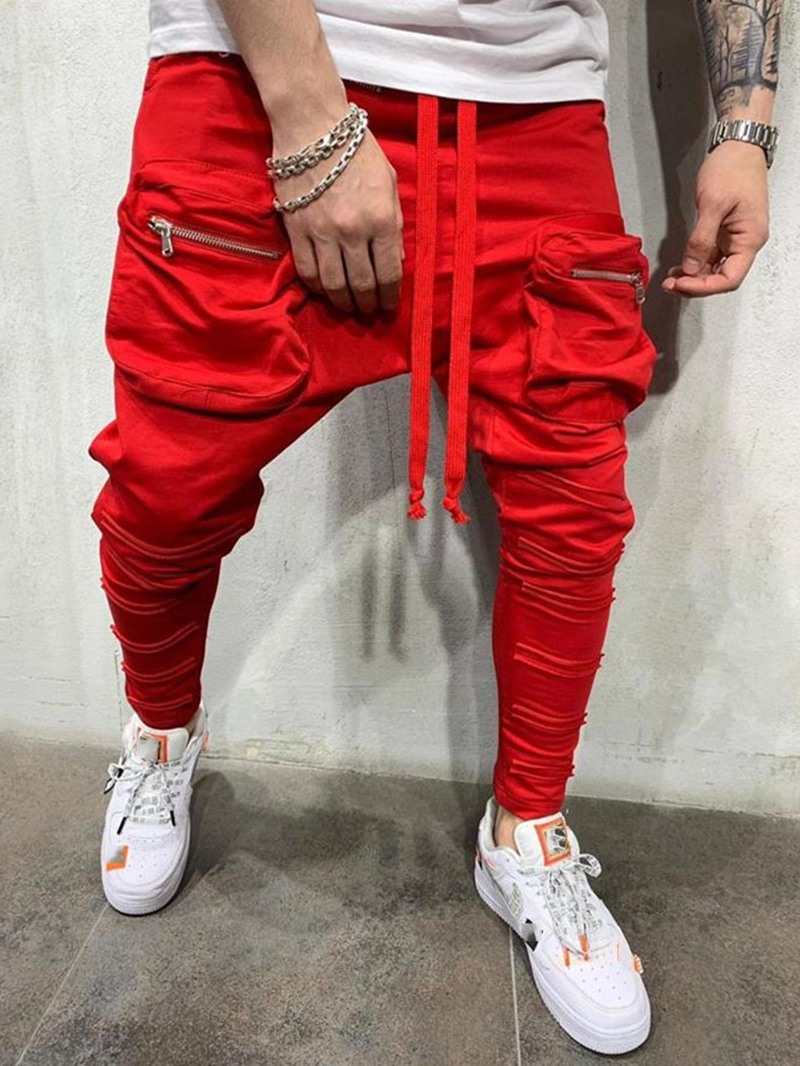 Ericdress Plain Lace-Up Baggy Pants Casual Mid Waist Men's Casual Pants