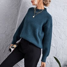 Solid Rib-Knit Funnel Neck Drop Shoulder Sweater