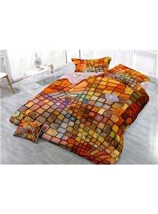 Dazzling Colorful Plaid Design Wear-resistant Breathable High Quality 60s Cotton 4-Piece 3D Bedding Sets