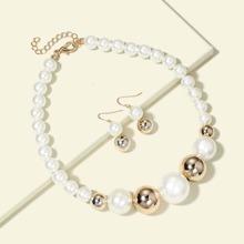 1 pieza collar con cuenta con perla artificial con 1 par pendientes