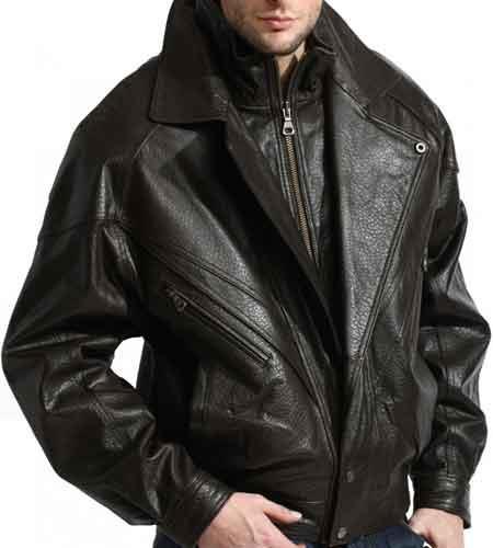 Black Full Sleeve Double Collared Lambskin Leather Bomber Jacket