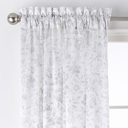 JCPenney Home Hilton Jacobean Light-Filtering Rod-Pocket Single Curtain Panel, One Size , Silver