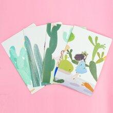 1 Stueck Zufaelliges Notizbuch mit Kaktus Muster