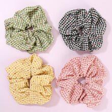 4 Stuecke Haarband mit Karo Muster
