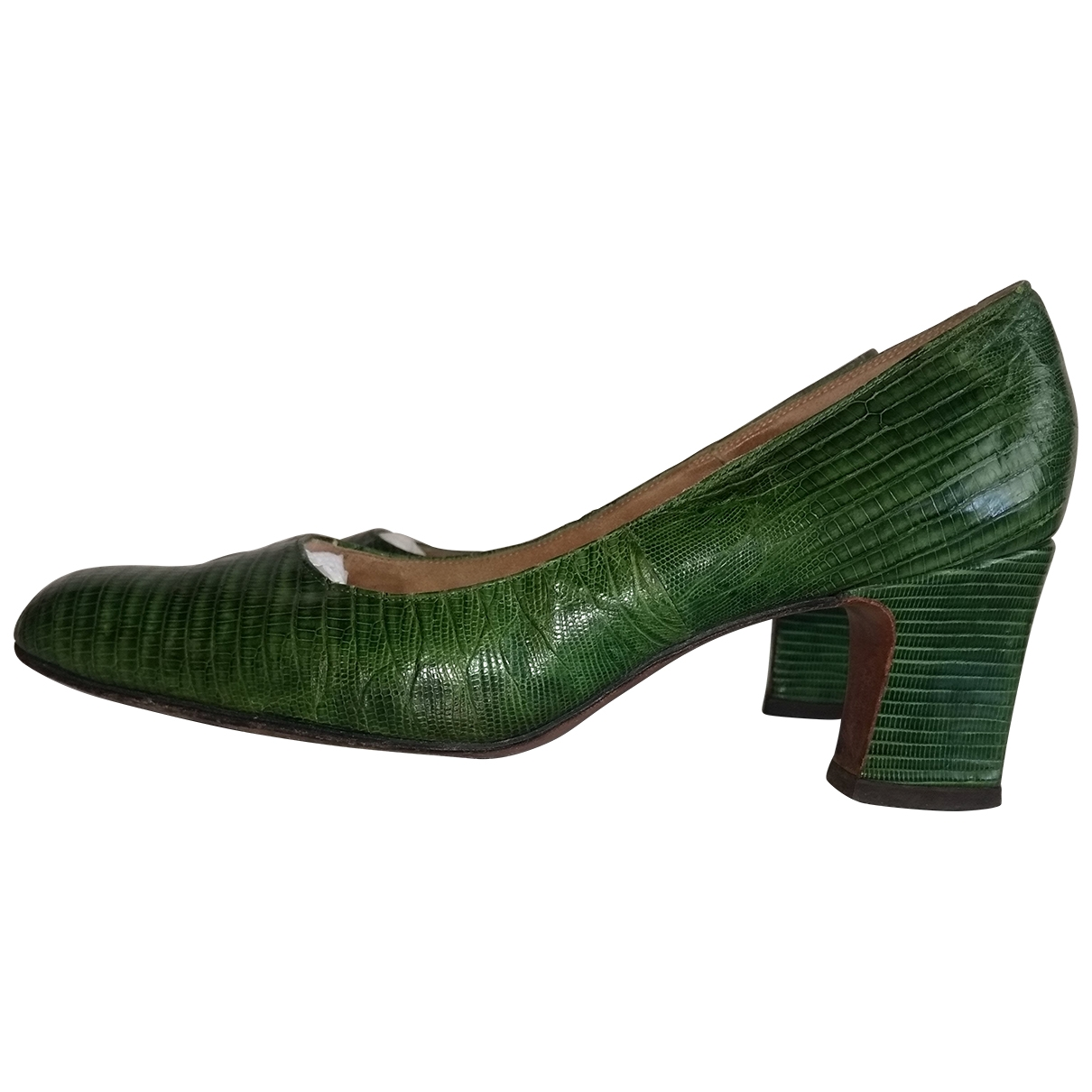 Non Signé / Unsigned \N Green Exotic leathers Heels for Women 38.5 IT