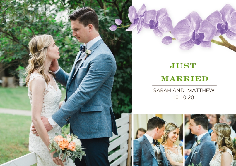Just Married Flat Matte Photo Paper Cards with Envelopes, 5x7, Card & Stationery -Wedding Just Married Orchids by Tumbalina