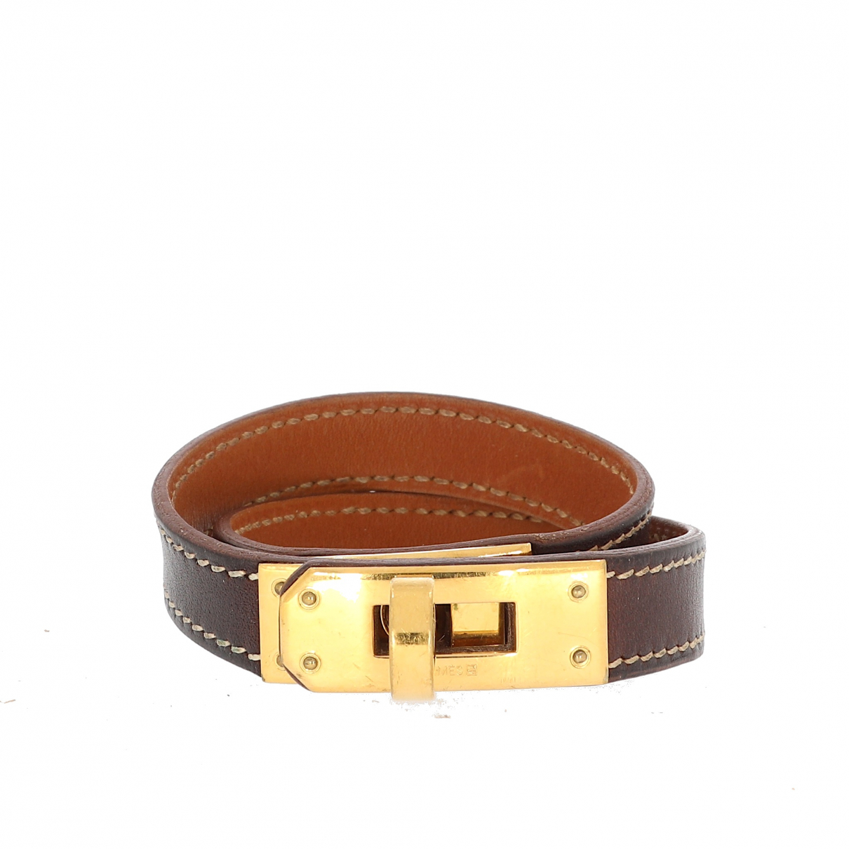 Hermes Kelly Double Tour Armband in  Braun Leder