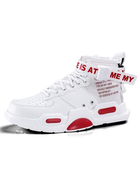 Milanoo Zapatillas de deporte para hombre Zapatillas deportivas blancas con punta redonda y correa de monje con diseño acogedor