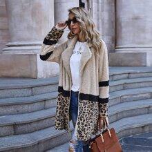 Leopard Print Open Front Teddy Coat