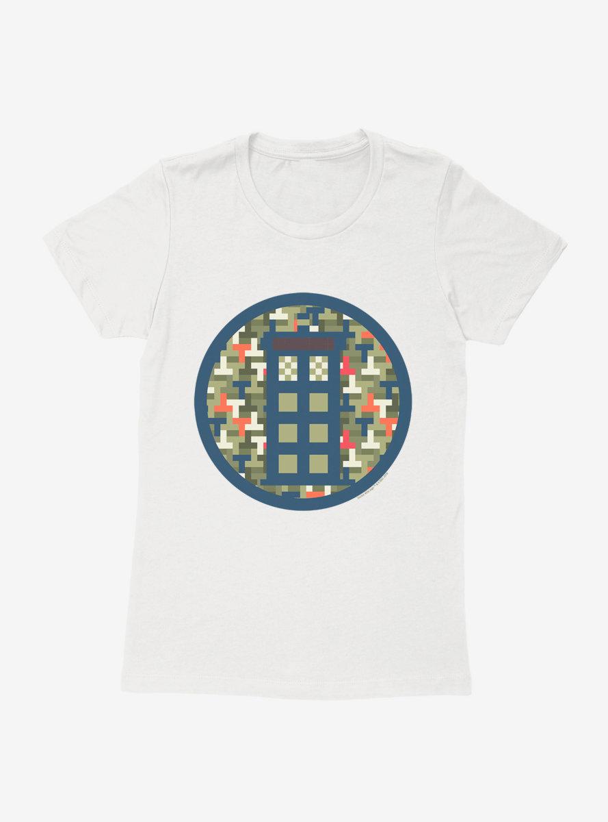 Doctor Who TARDIS Camo Pixelated Womens T-Shirt