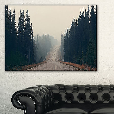 Designart Foggy Road In Forest In Banff Park Canvas Art, One Size , Black