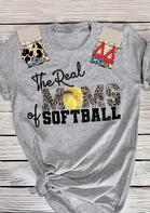 The Real Moms Of Softball Leopard T-Shirt Tee - Gray